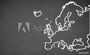 Bild på  Europe map drawn on chalkboard