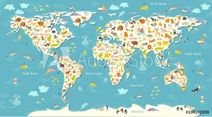 Bild på Animals world map. Beautiful cheerful colorful vector illustration for children and kids. With the inscription of the oceans and continents. Preschool, baby, continents, oceans, drawn, Earth