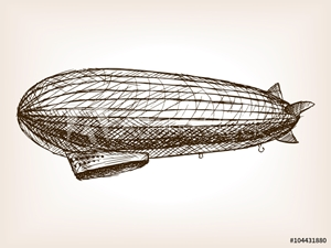 Bild på Antique dirigible hand drawn sketch vector