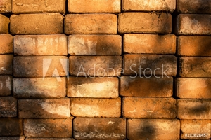 Bild på Brick Stact Texture Background with Sunlight Shading
