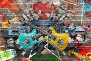 Bild på Collage of music, color and bright musical background