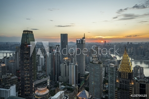 Bild på Downtown of Yuzhong district in the center of Chongqing China at Sunset