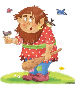 Bild på A cute troll. Fairy tale. Coloring book. Coloring page. Illustration for children.