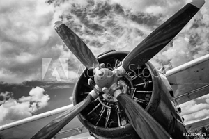 Bild på Close up of old airplane in black and white