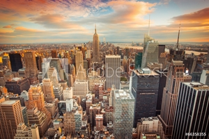 Bild på Sunset view of New York City looking over midtown Manhattan