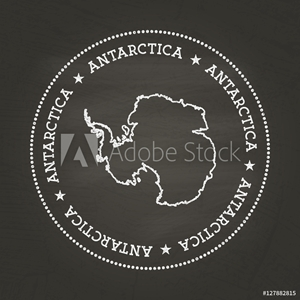 Bild på White chalk texture vintage seal with Antarctica map on a school blackboard. Grunge rubber seal with country map outline, vector illustration.